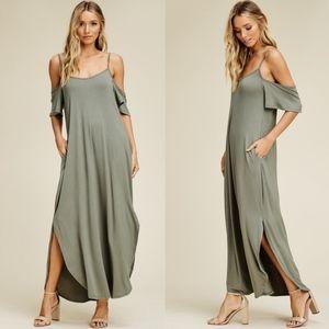 Bellanblue Dresses - RILEY Cold Shoulder Maxi Dress - LIGHT OLIVE